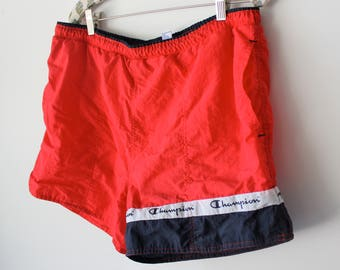 Vintage Red and Blue Champion Swim Trunks// Size M