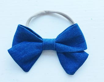 Classic Zoe Bow on headband - Dark Denim Blue