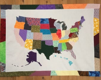 50 Fabrics USA Scrap Map with Scrap Border, Fabric Map, State, United States of America, America, US Map, Wall Art, Wall Hanging