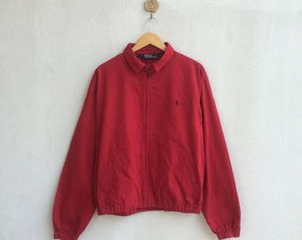 Vintage 90's Red Polo Ralph Lauren Zipper Jacket Small Embroidery Logo