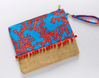 coral clutch red coral pattern clutchbag red blue turquoise color bag coral pattern with pompoms handmade clutch with strap 11,8'' x 9''
