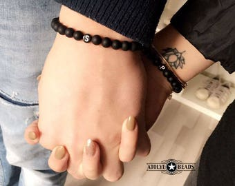 Couple Bracelets - Black with letter