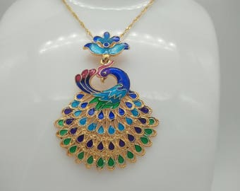 5 DIY cloisonne peacock pinches enameled pendant accessories, vintage sweater chain accessories, peacocks opening female jewelry accessories