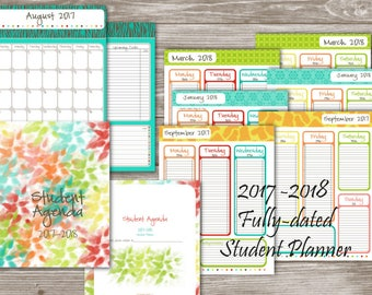 2017 2018 Academic Student Planner School Assignment Agenda, Dated And  Numbered Weekly Calendar: