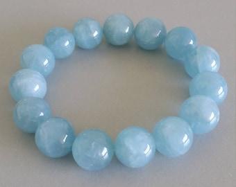 Aquamarine Bracelet - Birthstone of March (13mm Round Beads)