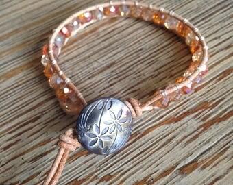 Beaded bracelet, leather wrap bracelet, leather beaded bracelet