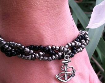 Handmade Layered Beaded Bracelet/Ankle Bracelet