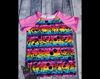 Pink Rainbow Skulls T-Shirt