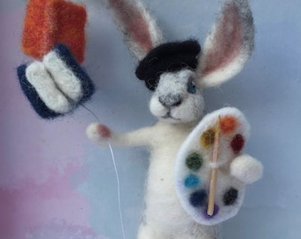Happy Hare Graduation Gift/Needle Felted to Order/Handmade/School Leaver/Unique/Celebration/Graduation Cake Topper/Graduation Ornament