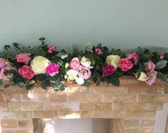 Luxury artificial wedding garland, pink wedding flower garland, silk flower garland, wedding centrepiece, wedding table decoration.