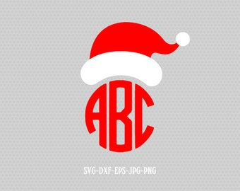 Santa hat monogram Christmas SVG Cutting File Svg, CriCut Files svg jpg png dxf Silhouette cameo