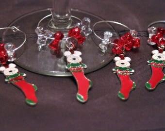 Set of 4 Christmas Themed Wine Glass Charms