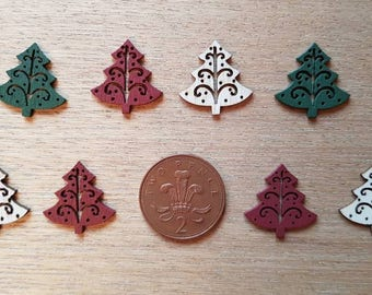 set of 8 wooden christmas trees