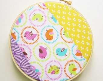 SALE - Birdy Patchwork Embroidery Hoop