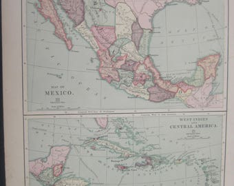 1882-Mexico and Central America Political, Antique Map- Lovely 135 year old, vintage map ,Home Décor