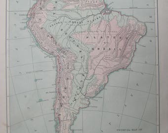 1882- Antique, Physical Map of South America- Lovely 135 year old, vintage map ,Home Décor