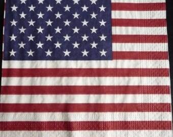 2 star American flag paper towel