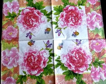 Paper roses and butterflies n white towel) 6