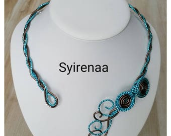 Necklace turquoise and chocolate color aluminum wire