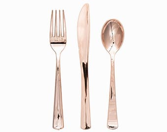 Rose Gold Plastic Party Cutlery, Party Utensils, Rose Gold Cutlery, Fancy party cutlery,plastic cutlery,fancy party utensils,Copper utensils