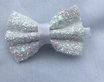White Vegan Leather Glittery Bow