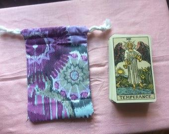 Purple Patterned Drawstring Tarot Deck Bag