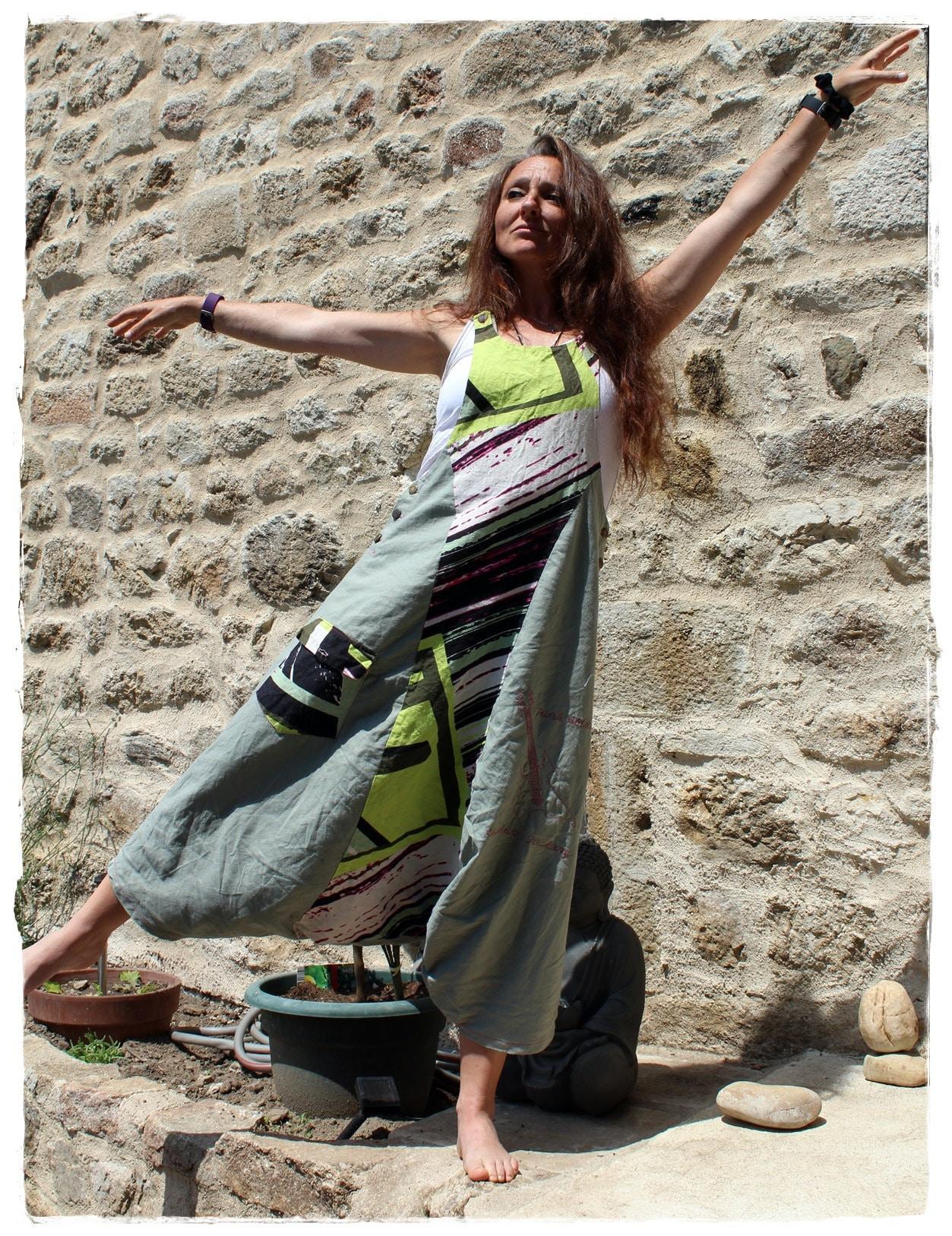 Robe salopette sarouel pour femme (style ethnique) - Dress jumpsuit harem pants for women (ethnic style)