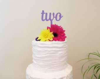 Two Cake Topper For 2nd Birthday Laser Cut Purple Tinted Acrylic