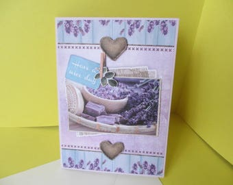 Card 3D (relief) lavender and soaps