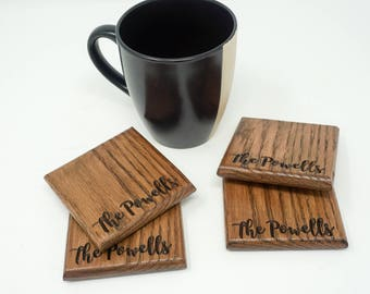 Personalized Wood  Coasters, Custom Coasters, Set of 4, Natural Personalized Coasters Perfect Gift for Beer Drinkers or Wine Lovers OOAK