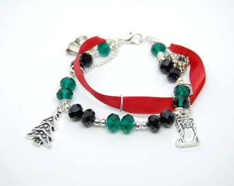 Ribbon bracelet, faceted beads, chain and christmas charms