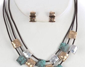 Antique Finish Hammered Mutli Color Necklace & Earring Set
