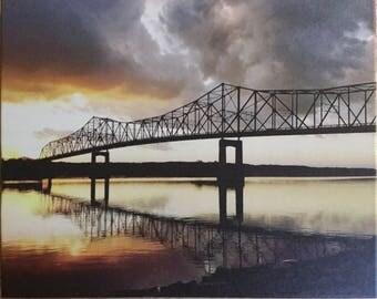 Bridge over Illinois River at Sunset