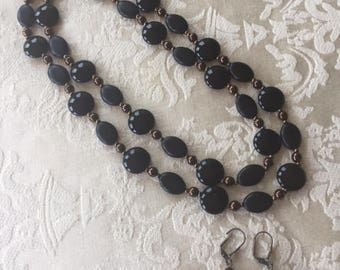Vintage Black and Copper Necklace and Pierced Earrings