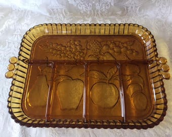 Vintage Serving Tray, Fruit Tray, Indiana Glass Sectional Divided Serving Tray with Handles 1960s, Vintage Kitchen Tray