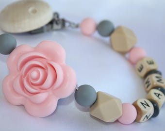 Pink Rose Personalised Wooden Dummy Clip/BPA Free/Non Toxic Silicone Beads/Chain/holder