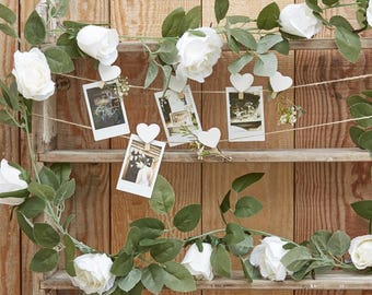 Decorative White Rose Flower Artificial Foliage Garland, Wedding Decorations, Home Decorations, Party Decorations, Rustic Wedding
