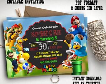 Instant Download- Super Mario Editable pdf Invitations, Super Mario, Mario Bros Party Invites, Super Mario Digital Printable Invitation