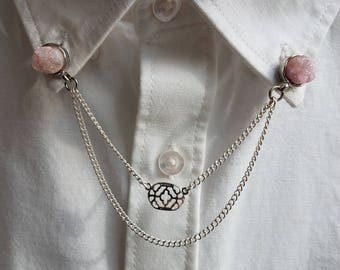 Rose Quartz Collar Pin Set