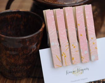 Origami Peg/Clothespin Magnets - clips - set of 5 or 10 - Handmade with Japanese finest Yuzen washi origami paper - gift for her