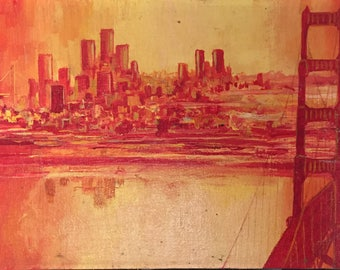 """Vintage San Francisco City Painting / Signed """"Winslow"""" Original City Skyline Painting / Red, Orange, and Yellow Painting"""