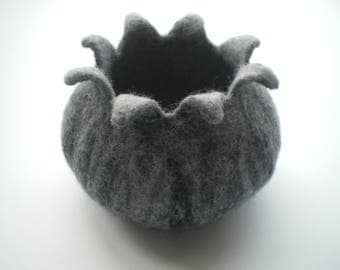 Grey giant poppy seed pod shaped felted bowl