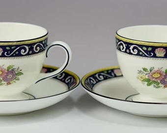 2 Wedgwood Runnymede Blue W4472 Pattern Bone China Footed Cups & Saucers Lot C
