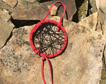 Native American red leather dream catcher, handmade