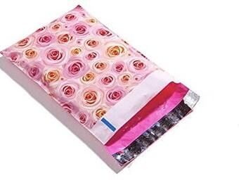 30-50 Pack 6x9 Designer Self Adhesive Mailers Roses Poly Plastic Shipping Bag, Envelope