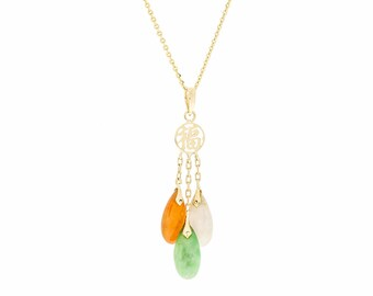 14K Multi Color Jade Jadeite Pendant