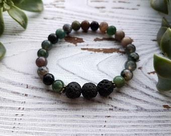 Essential oil bracelet, diffuser bracelet, aromatherapy bracelet, lava stone bracelet, jasper bracelet, essential oil jewelry for women