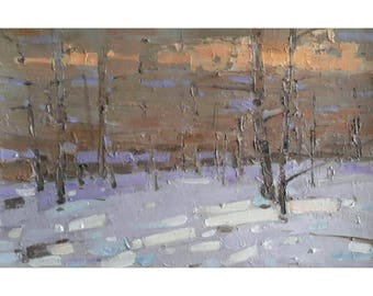 Wall Painting Winter Landscape Oil Painting Plein Air Evening Winter Wood colorful Sunset in a Forest Original Impressionism Small painting