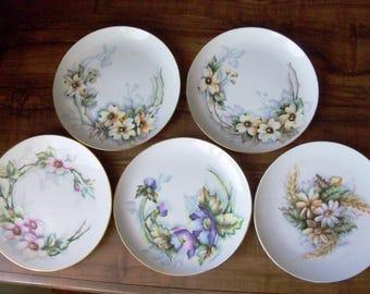 """5 Vintage porcelain desert/salad 7.5""""plates. Germany(#EV116)"""