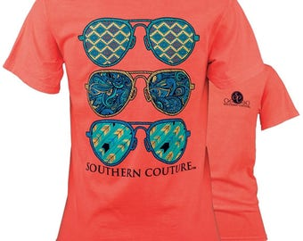 Southern Couture Comfort Color Neon Red Orange Wild Aviator Sunglasses Short Sleeve T Shirt